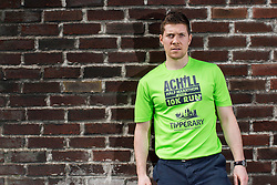 Repro Free: 11/04/2014<br /> Mayo Footballer Enda Varley is pictured at the launch of the Achill Half Marathon &amp; 10K race 2014 modeling the new  2014 event t-shirt at the events charity partner for the year, the Children&rsquo;s Medical &amp; Research Foundation, in Our Ladies Children&rsquo;s Hospital, Crumlin.  The races will take place on Achill Island on Saturday, July 5th, and with the new 10k event a wide range of runners and walkers will get to enjoy the most beautiful course in Ireland. Picture Andres Poveda