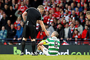 Celtic's Scott Brown (8) is not amused during the Betfred Scottish Cup  Final match between Aberdeen and Celtic at Hampden Park, Glasgow, United Kingdom on 27 November 2016. Photo by Craig Galloway.