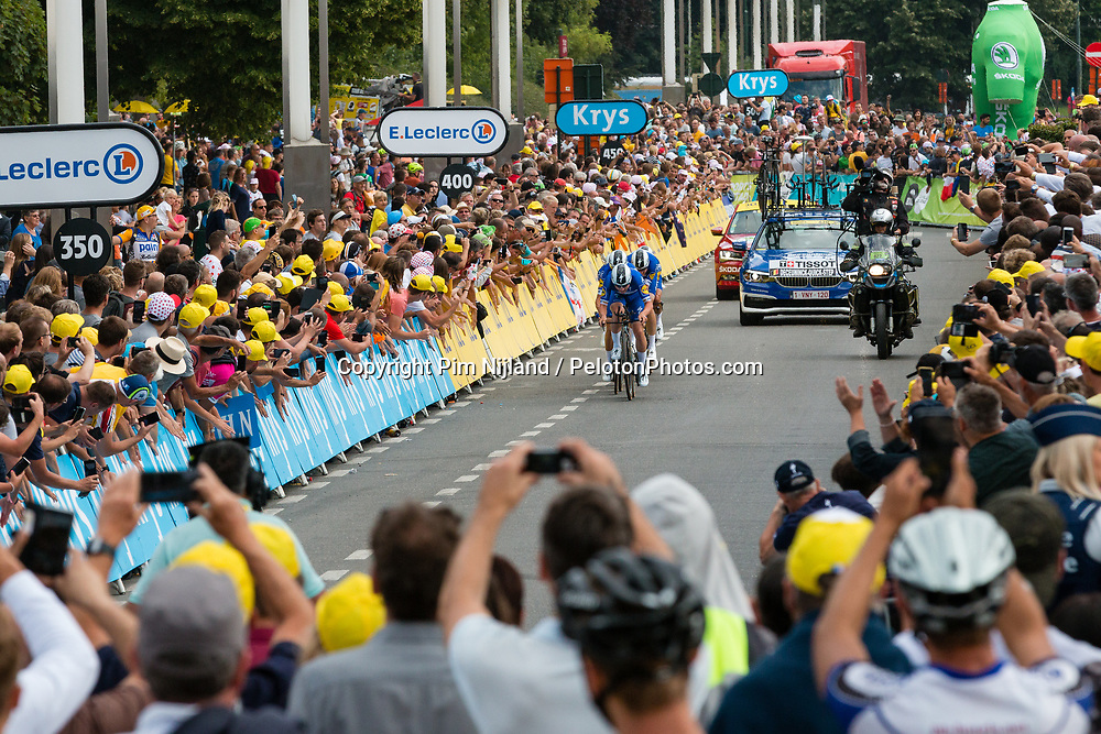 Deceuninck - Quick Step (BEL,WT,Specialized) during stage 2 TTT from Bruxelles to Brussel of the 106th Tour de France, 7 July 2019. Photo by Pim Nijland / PelotonPhotos.com   All photos usage must carry mandatory copyright credit (Peloton Photos   Pim Nijland)