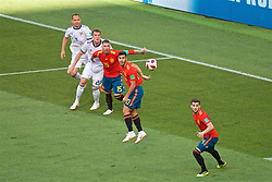 MOSCOW, RUSSIA - Sunday, July 1, 2018: Spain's Sergio Ramos, Marco Asensio and José Ignacio Fernández Iglesias 'Nacho' during the FIFA World Cup Russia 2018 Round of 16 match between Spain and Russia at the Luzhniki Stadium. (Pic by David Rawcliffe/Propaganda)