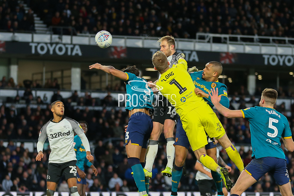 Matthew Clarke  scores with a header during the EFL Sky Bet Championship match between Derby County and Hull City at the Pride Park, Derby, England on 18 January 2020.