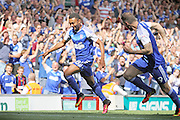 Ipswich Town midfielder Grant Ward celebrates scoring the first goal during the EFL Sky Bet Championship match between Ipswich Town and Barnsley at Portman Road, Ipswich, England on 6 August 2016. Photo by Nigel Cole.