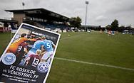 Kampprogrammet klar før kampen i NordicBet Ligaen mellem FC Roskilde og Vendsyssel FF den 18. august 2019 i Roskilde Idrætspark (Foto: Claus Birch)