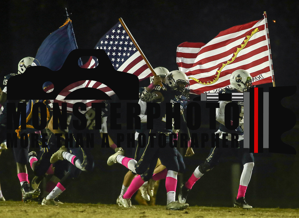 Delaware Military Academy take the field prior to a Week 8 DIAA football game between Laurel and Delaware Military Academy Saturday, Oct. 29, 2016, at Baynard Stadium in Wilmington.