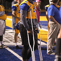 Adam Robison | BUY AT PHOTOS.DJOURNAL.COM<br /> Stephon Mcglaun stand on the sideline after being injured in the first quarter.