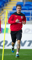 CARDIFF, WALES - Tuesday, August 9, 2011: Wales' captain Aaron Ramsey during a training session at the Cardiff City Satdium ahead of the International Friendly match against Australia. (Photo by David Rawcliffe/Propaganda)