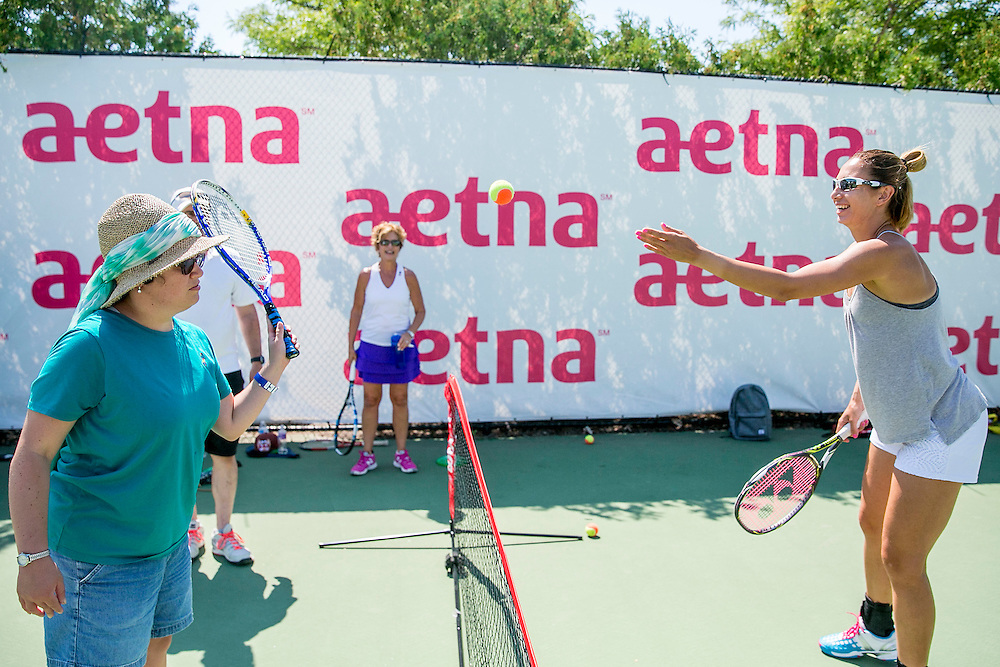 August 24, 2016, New Haven, Connecticut: <br /> Daria Jurak of Croatia attends an adaptive tennis clinic in the AETNA Fit Zone during Day 6 of the 2016 Connecticut Open at the Yale University Tennis Center on Wednesday, August  24, 2016 in New Haven, Connecticut. <br /> (Photo by Billie Weiss/Connecticut Open)