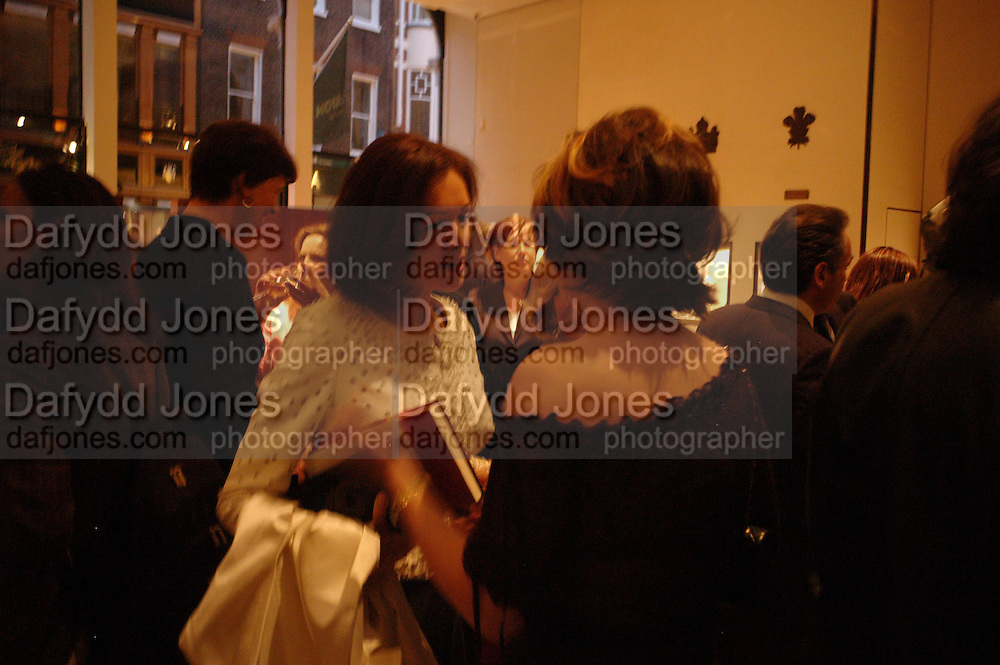 Lady Barbara Black and Petronella Wyatt. Book party for LAST VOYAGE OF THE VALENTINA by Santa Montefiore (Hodder & Stoughton) Asprey,  New Bond St. 12 April 2005. ONE TIME USE ONLY - DO NOT ARCHIVE  © Copyright Photograph by Dafydd Jones 66 Stockwell Park Rd. London SW9 0DA Tel 020 7733 0108 www.dafjones.com