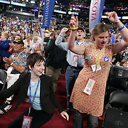 .Emily Wenzel (r) Minnesota Delegate and Andrea Johnson, page for the Minnesota delegation.Democratic National Convention.Boston, MA.07/27/2004.Convention goers at DNC...Photo by Khue Bui