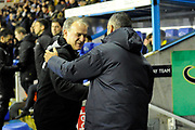Leeds United Manager Marcelo Bielsa shakes hands with Reading manager Jose Gomes during the EFL Sky Bet Championship match between Reading and Leeds United at the Madejski Stadium, Reading, England on 12 March 2019.
