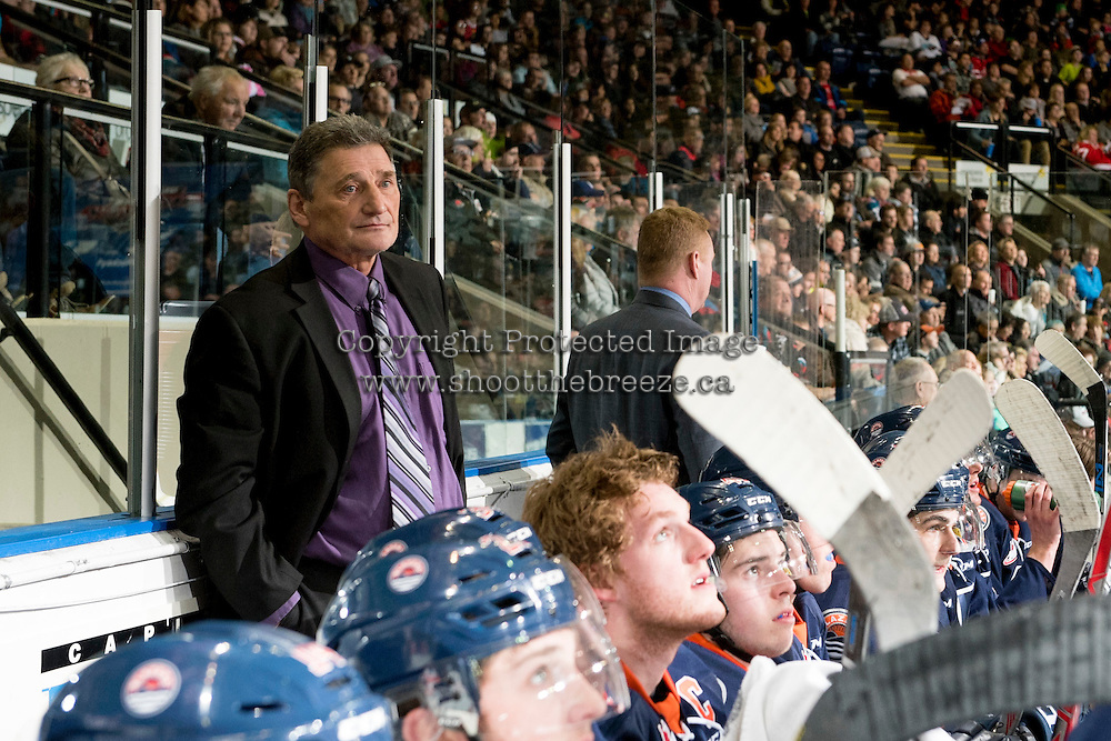 KELOWNA, CANADA - DECEMBER 27: Don Hay, head coach of the Kamloops Blazers stands on the bench against the Kelowna Rockets on December 27, 2016 at Prospera Place in Kelowna, British Columbia, Canada.  (Photo by Marissa Baecker/Shoot the Breeze)  *** Local Caption ***
