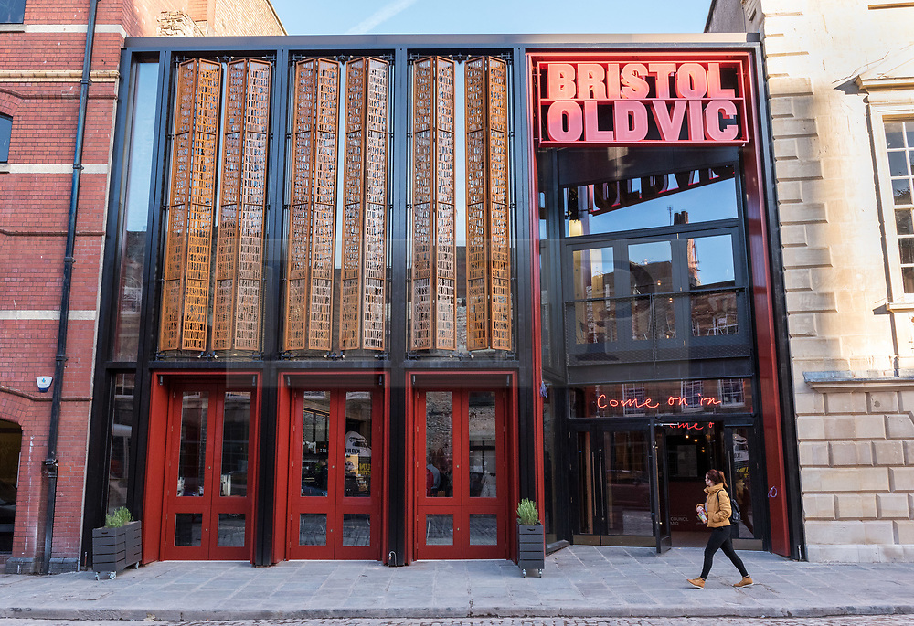 © Licensed to London News Pictures. 24/09/2018. Bristol, UK. The Bristol Old Vic Theatre in King Street reopens on Monday 24th September following a multi-million-pound transformation. The dramatic redevelopment, by leading theatre and Stirling prize-winning architects Haworth Tompkins, is designed to create a warm and welcoming venue to attract wider, more diverse audiences, and to place the theatre at the heart of the city's public and cultural life. A full-height timber and glass-fronted foyer, revealing the original auditorium façade to the street for the first time, acts like a covered public square. Huge sun-shading shutters, incorporating the text of Garrick's inaugural 1766 address and a poem by former Bristol city poet Miles Chamber, highlight the theatre's long history and look forward to its future role in the whole community. The internal layout of the theatre has also been completely transformed, with the restoration of the Georgian Coopers' Hall as a public assembly room for Bristol, a new studio theatre created in the old barrel vaults, mezzanine galleries, winding staircases and viewing platforms. Together, they provide new flexible spaces for productions, events, experimental theatre and city-wide participation. The Bristol Old Vic is the oldest continuously working theatre in the English speaking world. Photo credit: Simon Chapman/LNP