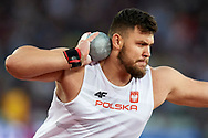 Great Britain, London - 2017 August 06: Konrad Bukowiecki (Gwardia Szczytno) of Poland competes in men's shot put final during IAAF World Championships London 2017 Day 3 at London Stadium on August 06, 2017 in London, Great Britain.<br /> <br /> Mandatory credit:<br /> Photo by © Adam Nurkiewicz<br /> <br /> Adam Nurkiewicz declares that he has no rights to the image of people at the photographs of his authorship.<br /> <br /> Picture also available in RAW (NEF) or TIFF format on special request.<br /> <br /> Any editorial, commercial or promotional use requires written permission from the author of image.