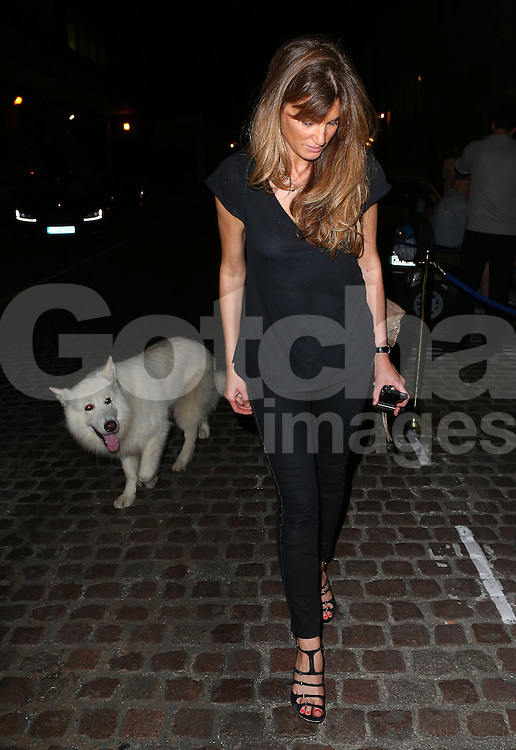 Jemima Khan and her beloved dog Brian leaving The Chiltern Firehouse in London, UK. 31/07/2014<br />BYLINE MUST READ : JAMESY/GOTCHA IMAGES<br /><br />Copyright by &copy; Gotcha Images Ltd. All rights reserved.<br />Usage of this image is conditional upon the acceptance <br />of Gotcha Images Ltd, terms and conditions available at<br />www.gotchaimages.com