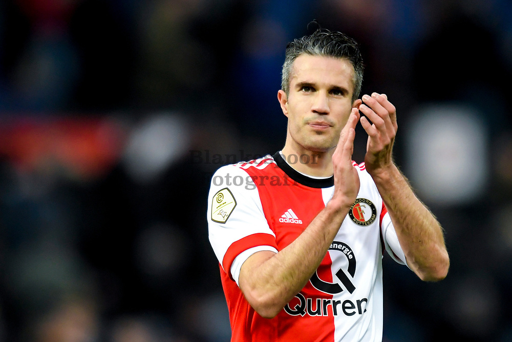 (L-R) Robin van Persie* of Feyenoord celebrates the victory
