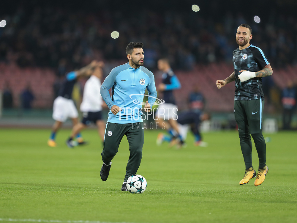 Sergio Aguero during the Champions League match between Napoli and Manchester City at San Paolo Stadium, Napoli, Italy on 1 November 2017. Photo by Ahmad Morra.