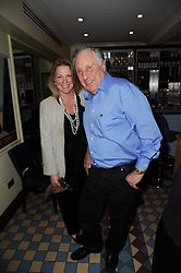 FREDERICK FORSYTH and VISCOUNTESS GORMANSTON at a cabaret evening at Bellamy's, Bruton Place, London on 22nd March 2010.