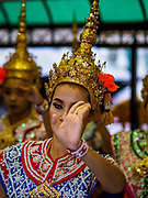 09 NOVEMBER 2017 - BANGKOK, THAILAND: Thai classical dancers perform at the Erawan Shrine on the 61st anniversary of the shrine's dedication. The Erawan Shrine is one of the most popular shrines in Bangkok. It was dedicated on November 9, 1956, after a series of construction accidents at what was then the Erawan Hotel (since torn down and replaced by the Grand Hyatt Erawan Hotel). The statue in the shrine is Phra Phrom, the Thai representation of the Hindu god of creation Brahma. It is a Hindu shrine popular with Thai and Chinese Buddhists because it is thought that making an offering to the Phra Phrom will bring good fortune.    PHOTO BY JACK KURTZ