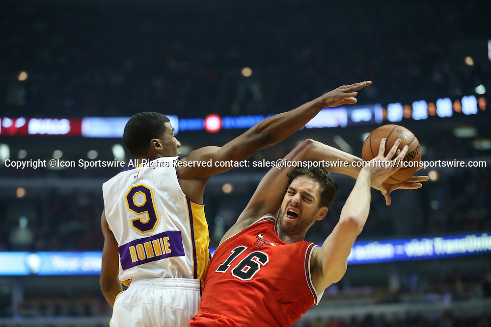 Dec. 25, 2014 - Chicago, IL, USA - Los Angeles Lakers guard Ronnie Price (9) fouls Chicago Bulls forward Pau Gasol (16) during the second period on Dec. 25, 2014 at the United Center in Chicago. The Bulls beat the Lakers 113-93