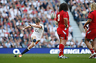 Owen Farrell of England kicks their first penalty during the RBS 6 Nations match at Twickenham Stadium, Twickenham<br /> Picture by Andrew Tobin/Focus Images Ltd +44 7710 761829<br /> 09/03/2014