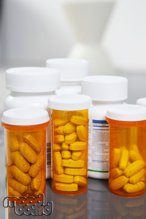 Bottles of pills, close-up