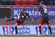 Picture by David Horn/Focus Images Ltd +44 7545 970036.23/02/2013.Billy Clarke of Crawley Town scores his side's first goal during the npower League 1 match at the Matchroom Stadium, London.