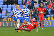 Reading FC defender Paul McShane tackled by Blackburn Rovers defender Adam Henley during the Sky Bet Championship match between Reading and Blackburn Rovers at the Madejski Stadium, Reading, England on 3 December 2015. Photo by Mark Davies.