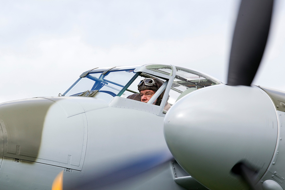 Pilot Keith Skilling flying in public for the first time a World War II fighter-bomber,  the only flying de Havilland Mosquito KA114, built of wood, restored seven years after being pulled from a Russian swamp, Ardmore Airport, Auckland, New Zealand, Saturday, September 29, 2012.  Credit:SNPA / David Rowland