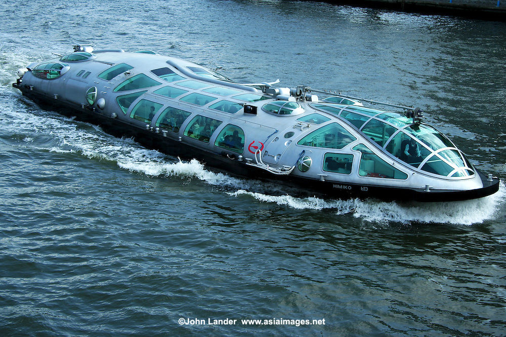 "The boat Himiko was designed by Reiji Matsumoto one of the most renowned Japanese cartoonists who designed this ship in the image of a ""teardrop"". With its streamlined body with bubble windows, Himiko is designed for optimum viewing of the scenes along the Sumida River on its journey to Odaiba."