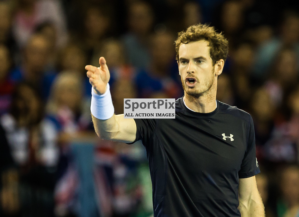 Andy Murray disagrees with a decision during the Davis Cup Semi-final between Great Britian and Australia (c) ROSS EAGLESHAM | Sportpix.co.uk