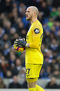 Brighton and Hove Albion goalkeeper David Button (27) during the Premier League match between Brighton and Hove Albion and Liverpool at the American Express Community Stadium, Brighton and Hove, England on 12 January 2019.