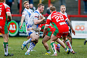 Workington Town prop Oliver Wilkes (8) in action  during the Betfred League 1 match between Keighley Cougars and Workington Town at Cougar Park, Keighley, United Kingdom on 18 February 2018. Picture by Simon Davies.