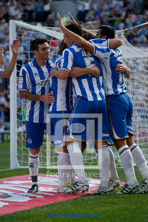Picture by Paul Terry/Focus Images Ltd..20/8/11.The Brighton team celebrate their second goal during the Npower Championship match at the American Express Community Stadium, Brighton, West Sussex.