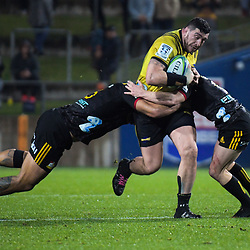 Hurricanes' Jeff Toomaga-Allen in action during the Super Rugby match between the Chiefs and Hurricanes at FMG Stadium in Hamilton, New Zealand on Friday, 13 July 2018. Photo: Dave Lintott / lintottphoto.co.nz