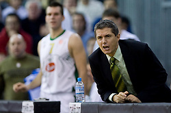 Assistant coach of Olimpija Zoran Martic at Euroleague basketball match of Group C between KK Union Olimpija, Ljubljana and Maroussi B.C., Athens, on October 29, 2009, in Arena Tivoli, Ljubljana, Slovenia. Olimpija lost 75:81.  (Photo by Vid Ponikvar / Sportida)