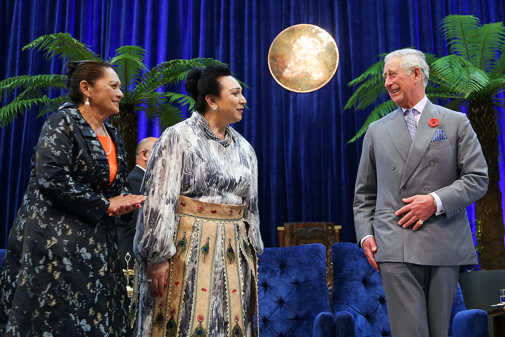 Prince Charles, Prince of Wales enjoys a laugh with Kingi Tuheitia's older sister Heeni Katipa, left and Princess Salote Pilolevu Tuita of Tonga during a visit to Turangawaewae Marae, Hamilton, New Zealand, Sunday, November 08, 2015. Credit:SNPA / Getty, Hagen Hopkins **POOL**