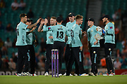 Surrey celebrate the wicket of Dominic Sibley during the NatWest T20 Blast South Group match between Surrey County Cricket Club and Warwickshire County Cricket Club at the Kia Oval, Kennington, United Kingdom on 25 August 2017. Photo by Dave Vokes.