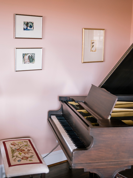 A piano in the living room of Diane Rehm's home on the 14th floor of a condominium complex in the Glover Park area of Washington, D.C.
