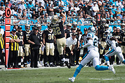 Coby Fleener(82) catches the first down pass in the New Orleans Saints 34 to 13 victory over the Carolina Panthers.