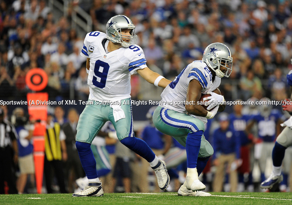 Oct 19, 2014: Dallas Cowboys Quarterback Tony Romo (9) [3808] hands the ball off to Dallas Cowboys Running Back DeMarco Murray (29) [16636] during an NFL game between the New York Giants and the Dallas Cowboys at AT&T Stadium in Arlington, TX  Dallas defeated New York 31-21