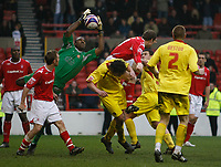 Photo: Steve Bond/Richard Lane Photography. <br />Nottingham Forest v Walsall. Coca Cola League One. 15/03/2008. Keeper Clayton Ince gathers. Grant Holt (C,R) tries to get to the cross