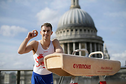 EDITORIAL USE ONLY<br /> Olympic gymnast Max Whitlock before performing on a pommel horse over a crash mat made entirely from British Lion eggs in London, as he prepares with a high-protein diet ahead of his participation in the Commonwealth Games, which starts on April 4th in Australia's Gold Coast.