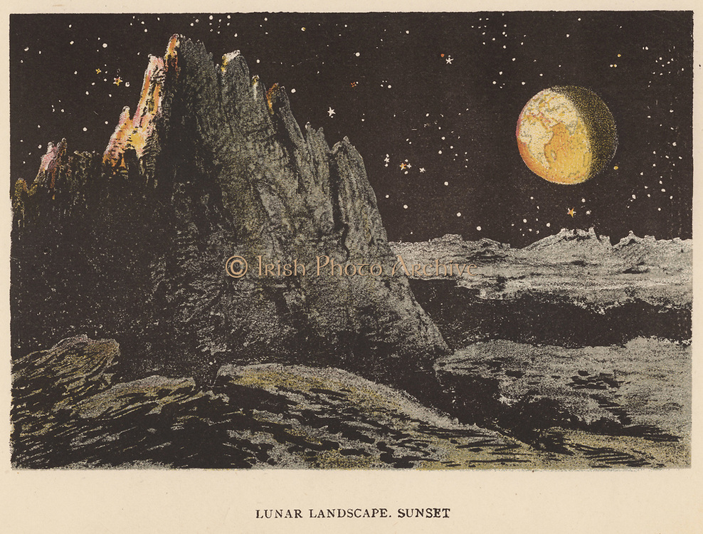 Artist's impression of lunar landscape at sunset. The Earth is at top right. Stars are visible in the lunar sky although it is not dark because the Moon has no atmosphere to scatter light. From 'Sun, Moon and Stars', Agnes Giberne (London, 1884). Chromolithograph.