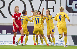 LLANELLI, WALES - Wednesday, April 9, 2014: Ukraine's Olga Boychenko celebrates scoring the first goal against Wales during the FIFA Women's World Cup Canada 2015 Qualifying Group 6 match at Parc-y-Scarlets. (Pic by David Rawcliffe/Propaganda)