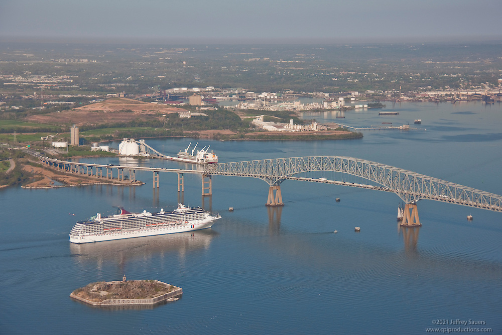 Aerial Photo of Cruise Ship Carnival Pride at Francis Scott Key Bridge.
