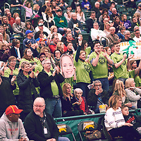 Fans of 5th year forward, Christina McCusker (12) of the Regina Cougars during the Women's Basketball Home Game on Sat Feb 02 at Centre for Kinesiology,Health and Sport. Credit: Arthur Ward/Arthur Images