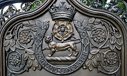 "York and Lancaster regimental badge on the War memorial in Sheffield Weston Park commemorating those who served and died in ""India. Nive. Peninsula. Arabia. Lucknow. New-Zealand Egypt 1882. Tel-el-Kebir. Egypt. 1884. South African campaign 1899-1902""<br /> <br />   11 September 2016<br />   Copyright Paul David Drabble<br />   www.pauldaviddrabble.photoshelter.com"