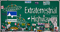 Extraterrestrial Highway Sign (Nevada 375), in the vicinity of Area 51. Image taken with a Nikon D00 camera and 80-400 mm VR lens (ISO 200, 400mm, f/8, 1/800 sec).