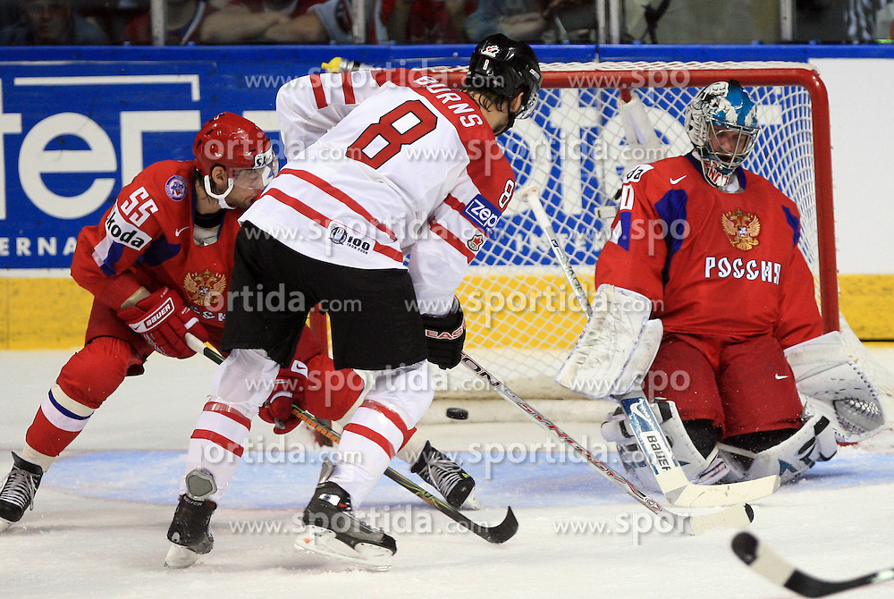 Brent Burns of Canada scored vs goalkeeper Evgeny Nabokov  at  ice-hockey game Canada vs Russia at finals of IIHF WC 2008 in Quebec City,  on May 18, 2008, in Colisee Pepsi, Quebec City, Quebec, Canada. (Photo by Vid Ponikvar / Sportal Images)