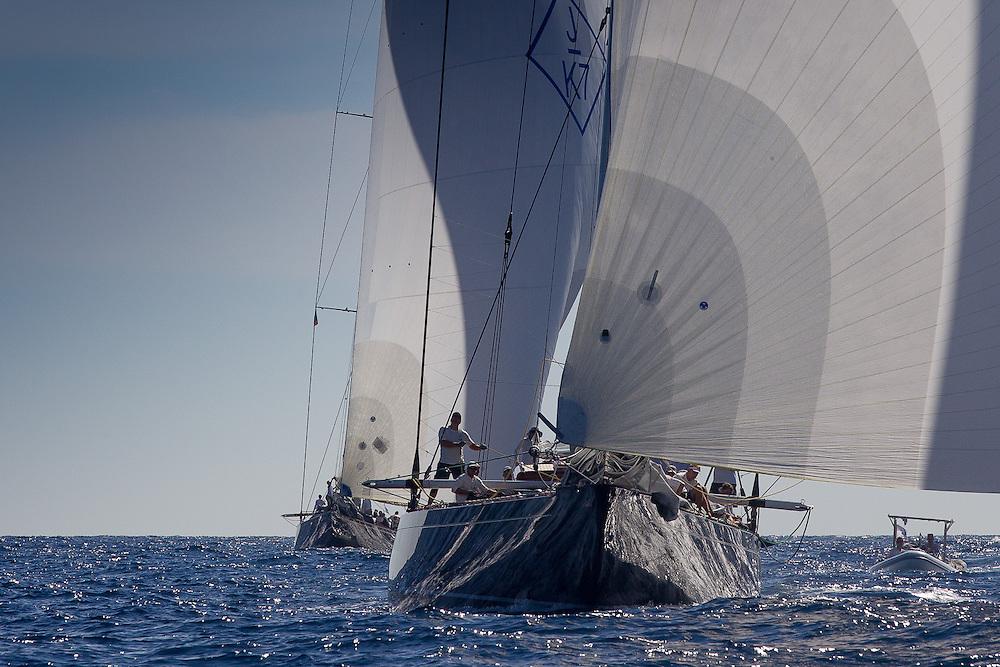 FRANCE, St Tropez. 1st October 2013. Voiles de St Tropez. Velsheda (K7) follows Hanuman (K6) downwind.